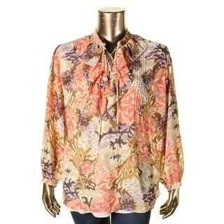 Lauren Ralph Lauren Womens Plus Blouse Sheer Printed