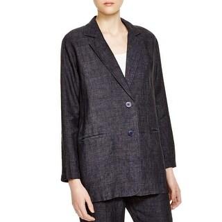 Eileen Fisher Womens Two-Button Blazer Linen Denim