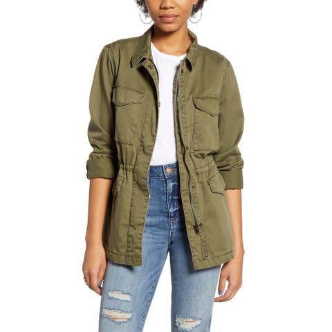 Thread & Supply Women's Jacket Green Size XS Utility Full-Zipped