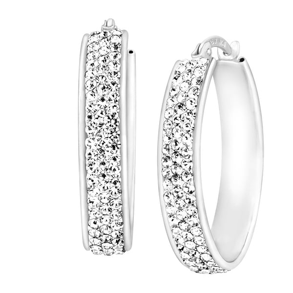 Crystaluxe Oval Hoop Earrings with Swarovski elements Crystals in 14K White Gold-Bonded Sterling Silver