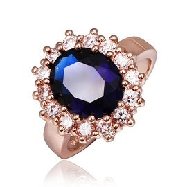 Rose Gold Plated Saphire Gem Center Piece Ring