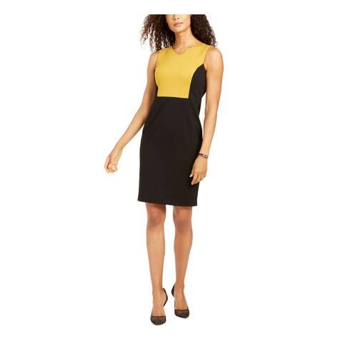KASPER Gold Sleeveless Above The Knee Sheath Dress Size 4