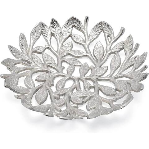 Cheer Collection Silver Leaf Decorative Fruit Bowl Dish