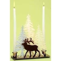 """10"""" Home for the Holidays Deer with Winter Scene Christmas Candle Holder"""