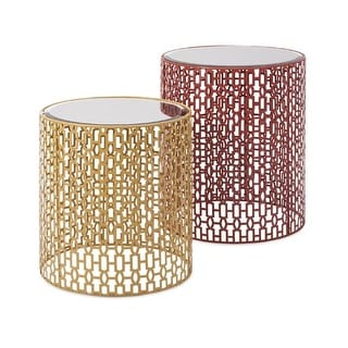 """Set of 2 Fiery Red Orange and Mustard Yellow Cutwork Geometric Patterned Metal Accent Tables with Mirrored Tops 19.75"""""""