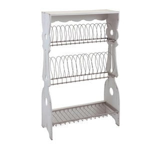 22 x 38 Olde Country Porch Wooden Weathered White Plate Rack