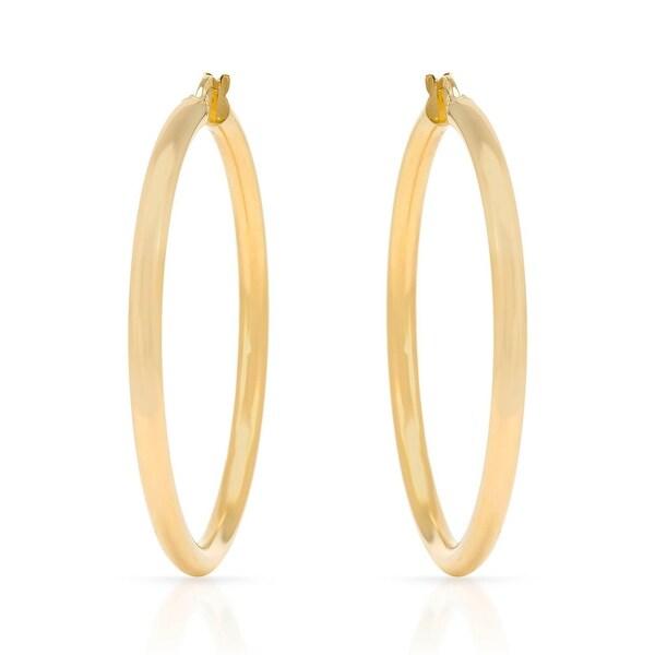 Mcs Jewelry Inc 14 KARAT YELLOW GOLD LARGE CLASSIC HOOP EARRINGS (DIAMETER: 50MM)