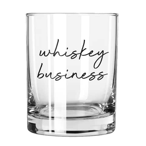"""10"""" Clear Glass Cup with Whiskey Business Design Print"""