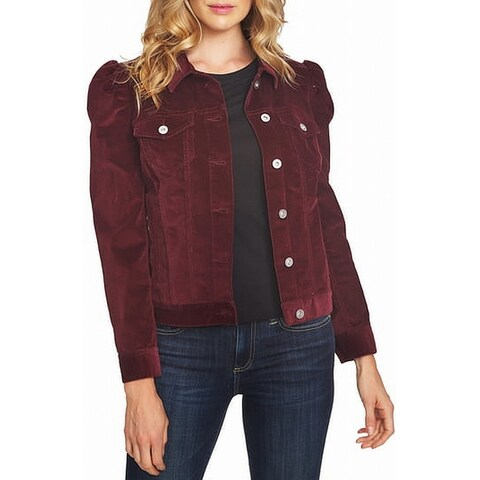 Sanctuary Red Wine Women's Size XL Puff Sleeve Corduro Jacket
