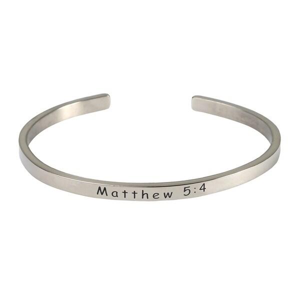 Women's Bible Verse Sterling Silver Engraved Cuff Bracelet - Mathew 5:4