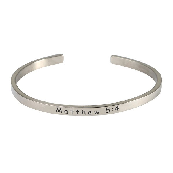 Women's Stainless Steel Bible Verse Engraved Cuff Bracelet - Matthew 5 - Silver