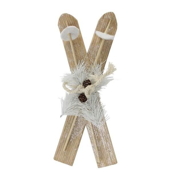 "12.5"" Brown Ski with White Pine Sprigs Christmas Decoration"