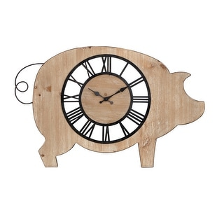"IMAX Home 75091  18-1/4"" x 30"" Piggie Analog Wall Clock - Beige"
