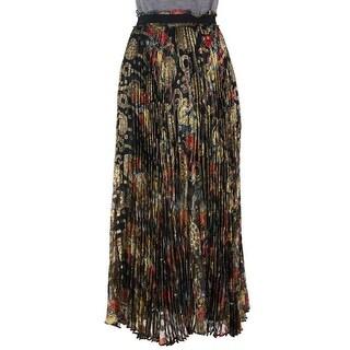 Roberto Cavalli Women Multi Print Pleated Silk Blend Skirt