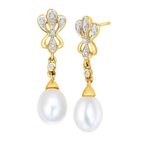 Freshwater Pearl Baroque Drop Earrings with Diamonds in 10K Gold