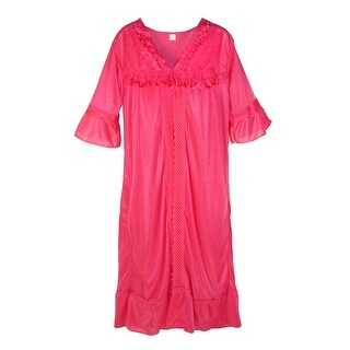 CTM® Women's Lace Trim Robe and Gown Set
