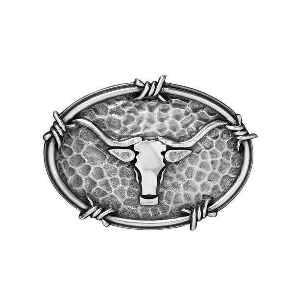 Nocona Western Belt Buckle Mens Steer Head Oval Barbwire Silver