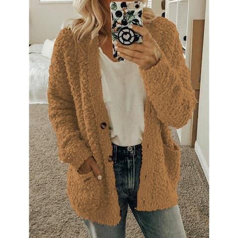 Fleece Cozy Button Pocket Cardigan Coat