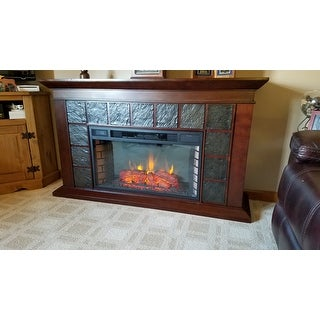 Copper Grove Honor 60-inch Warm Brown Walnut Electric Fireplace - N/A