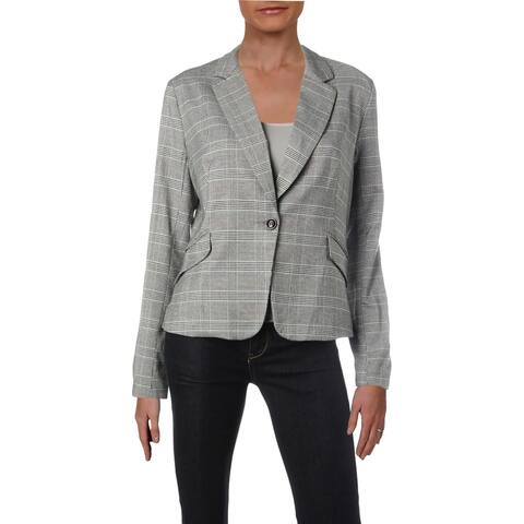 Aqua Womens One-Button Blazer Plaid Work Wear