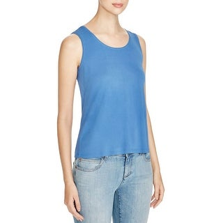 Eileen Fisher Womens Petites Tank Top Silk Scoop Neck - pl