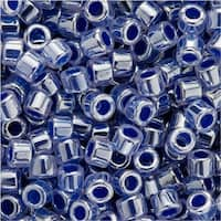 Miyuki Delica Seed Beads, 11/0 Size, 7.2 Grams, Lined Crystal Blue Luster DB243