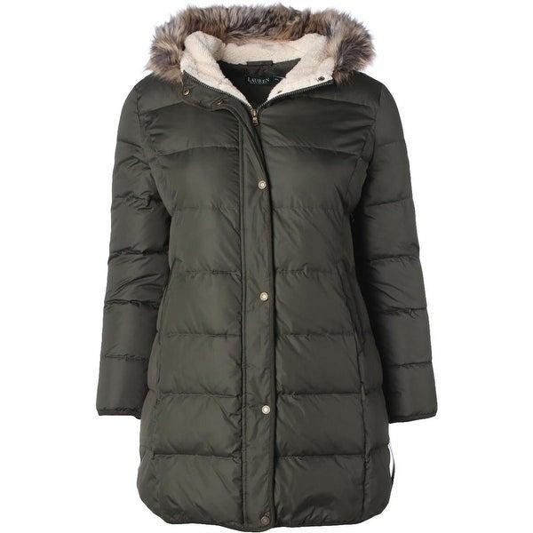 Shop Lauren Ralph Lauren Womens Petites Puffer Coat Faux Fur Hooded Green  PXL - Free Shipping Today - Overstock - 19568598 80039ff2c