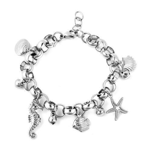 Sea Friends Charm Bracelet in Stainless Steel 7.00 inch