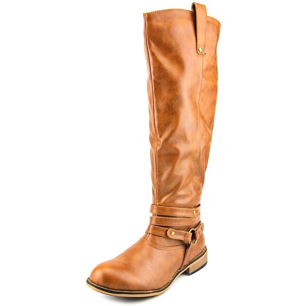 Brinley Co. Bailey Women Round Toe Synthetic Tan Mid Calf Boot