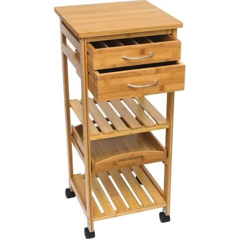 Lipper 8915 bamboo cart/trolley w 2 drawrs