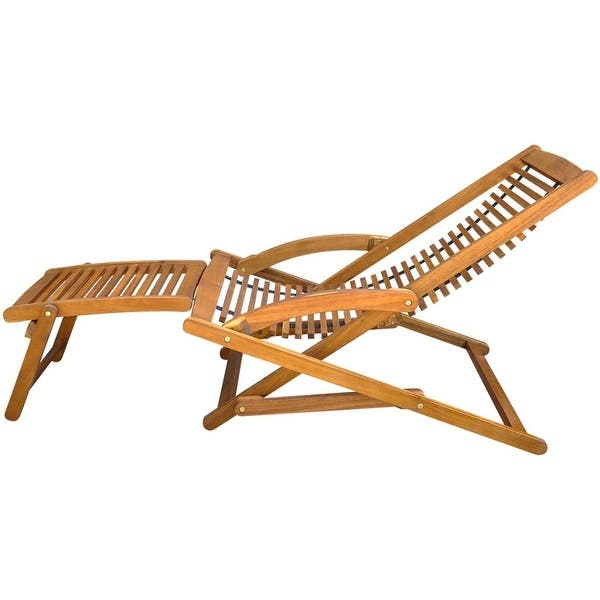 Astonishing Shop Vidaxl Solid Acacia Wood Deck Chair W Footrest Seat Cjindustries Chair Design For Home Cjindustriesco