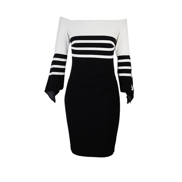 2436cbdb7a Shop Lauren Ralph Lauren Black Ivory Striped Off-The-Shoulder Dress ...