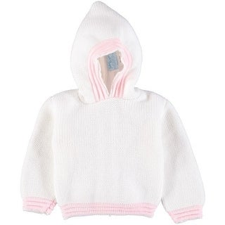 Julius Berger Baby Girls White Pink Stitch Detail Hooded Zip Back Sweater