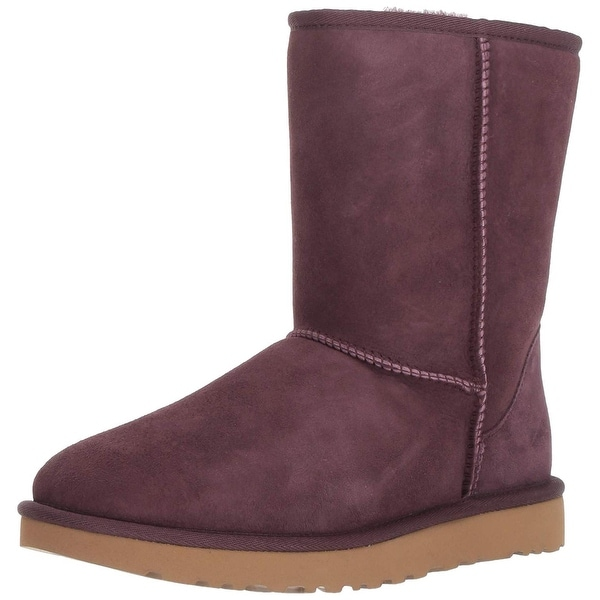 Ugg Womens Classic Short II Leather Round Toe Mid-Calf Cold Weather...