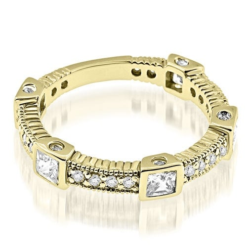 0.56 cttw. 14K Yellow Gold Vintage Style Round Princess Diamond Eternity Band