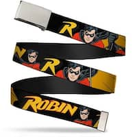 "Blank Chrome 1.0"" Buckle Robin Red Black Poses Black Webbing Web Belt 1.0"" Wide - S"