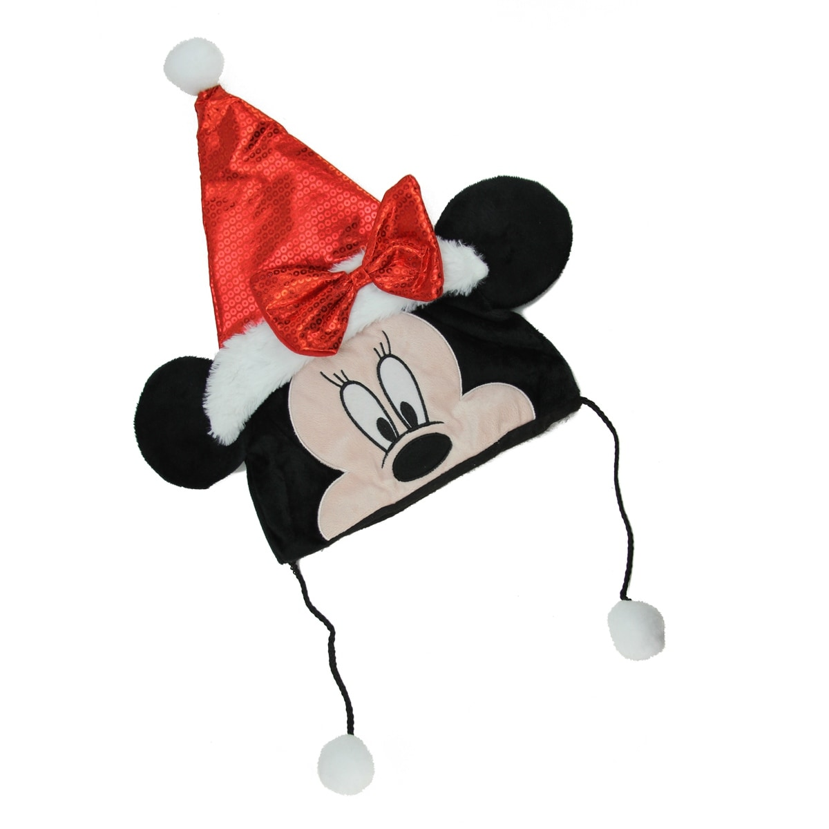 Christmas Minnie Mouse Head.16 Red And Black Disney Minnie Mouse Unisex Child Christmas Santa Claus Hat Costume Accessory Medium