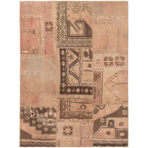 ECARPETGALLERY Hand-knotted Vintage Anatolia Patch Brown, Tan Wool Rug - 5'3 x 6'10