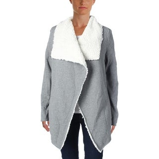 Guess Womens Cardigan Sweater Sherpa Lined Open Front