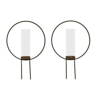 Set of 2 Rust Color Metal Hoop Outdoor Ground Candleholders 12 inch