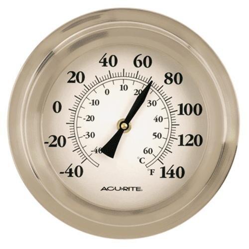 """Acu-Rite 2320 Porthole Thermometer, 9"""", Brushed Nickel"""