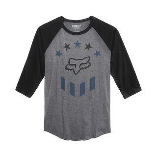 Fox Racing Men's Berren Raglan-Sleeve Logo-Print T-Shirt - Charcoal Heather