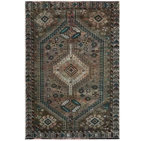 "Shahbanu Rugs Semi Antique Brown Persian Qashqai Worn Down Clean Hand Knotted Pure Wool Oriental Rug (3'1"" x 4'6"") - 3'1"" x 4'6"""