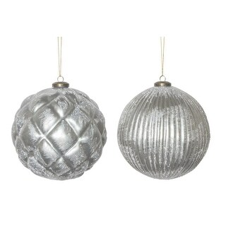 """Club Pack of 12 Grey Distressed Christmas Tree Ornaments with Hanger 6"""""""