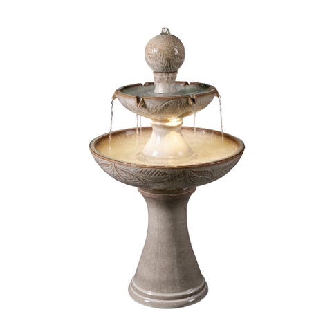 """Hillsby Ivory Ceramic Tiered Fountain with Light - 22"""" x 38"""""""