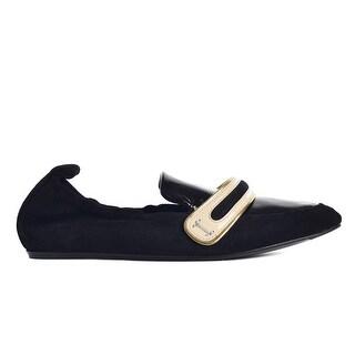 Lanvin Women's black elasticated Goatskin leather suede loafers