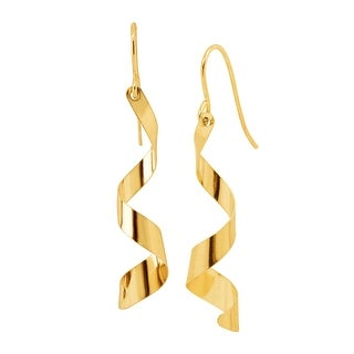Eternity Gold Spiral Mirror Drop Earrings in 10K Gold