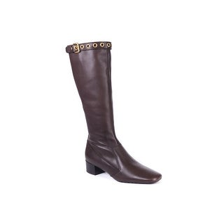 Car Shoe Womens Brown Mid-Calf Leather Buckle Boots