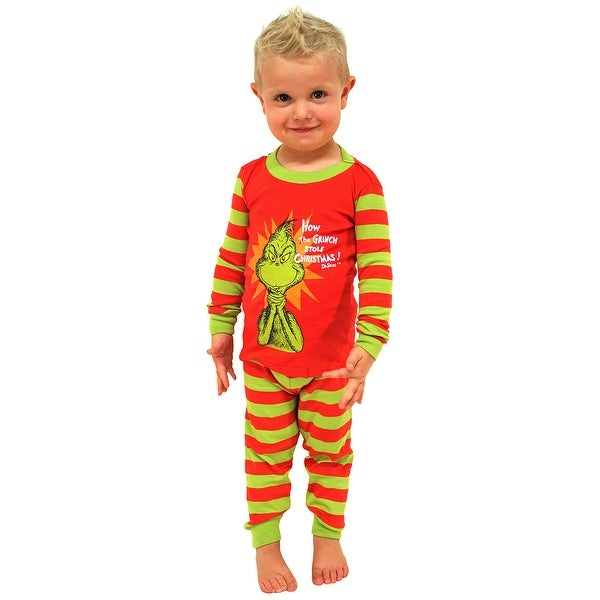 13f672c64 Intimo Toddler Kids Boys and Girls Dr Seuss The Grinch Evil Smile Pajama Set