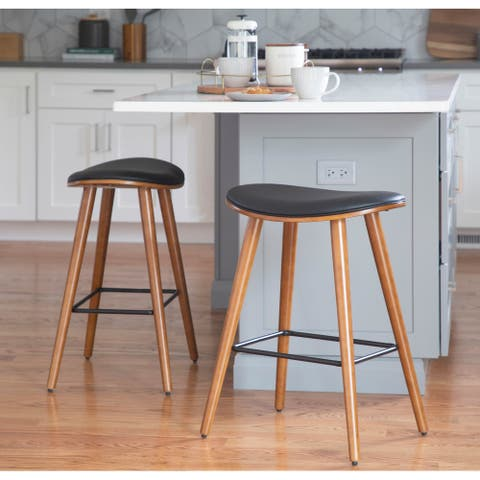 Copper Grove Albstadt Walnut and Faux Leather Saddle Counter Stools (Set of 2)